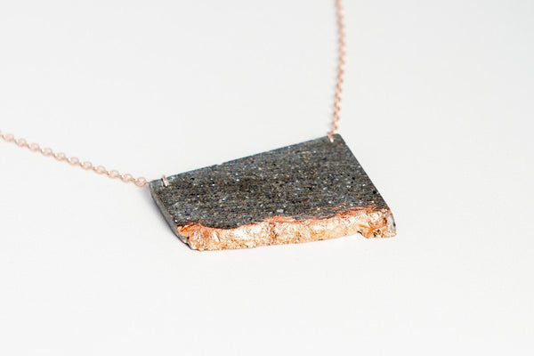 Concrete Fractured Necklace - Offset Large - Copper