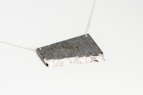 Concrete Fractured Necklace - Offset Large - Silver