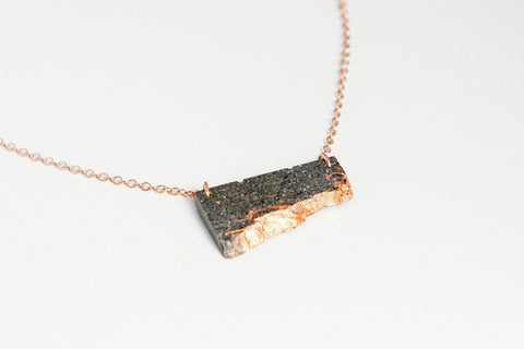 Concrete Fractured Necklace - Offset Small - Copper