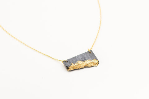 Concrete Fractured Necklace - Offset Small - Gold