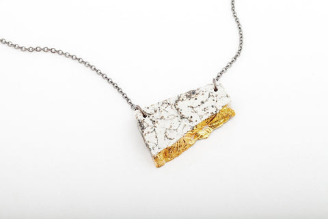Marble Concrete Fractured Necklace - Offset Small - Gold