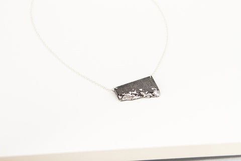Concrete Fractured Necklace - Offset Small - Silver