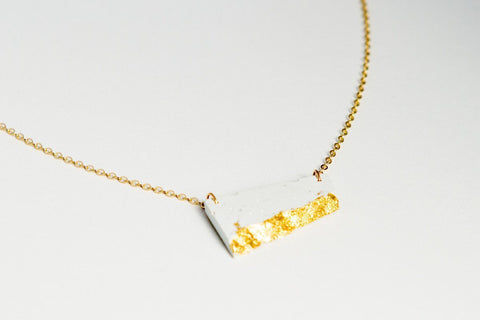 White Concrete Fractured Necklace - Offset Small - Gold