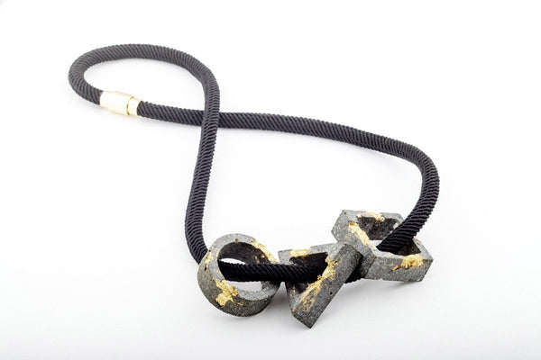 Concrete Fractured Necklace - Trio Large - Gold - Silk Rope