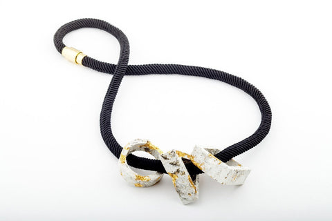 Marble Concrete Fractured Necklace - Trio Large - Gold - Silk Rope