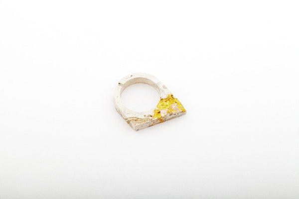 Marble Concrete Fractured Ring - Offset - Gold