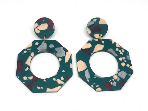 Concrete Jesmonite Earrings - Octagon - Large