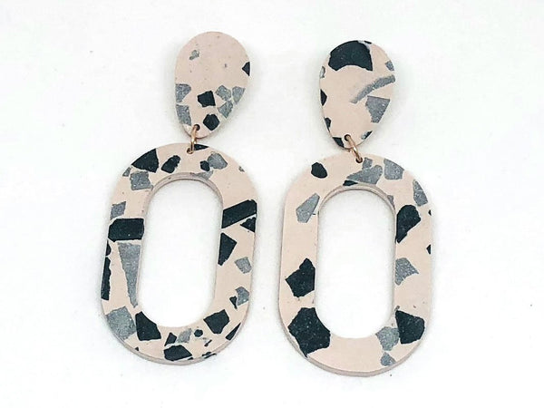 Concrete Jesmonite Earrings - Oval - Large