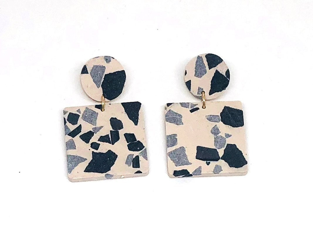 Concrete Jesmonite Earrings - Square - Small
