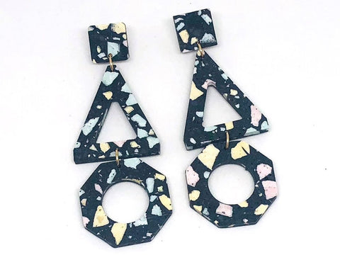 Concrete Jesmonite Earrings - Trio