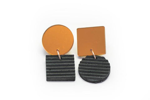 Gray Concrete Ripple Earrings - Asymmetric Small - Copper