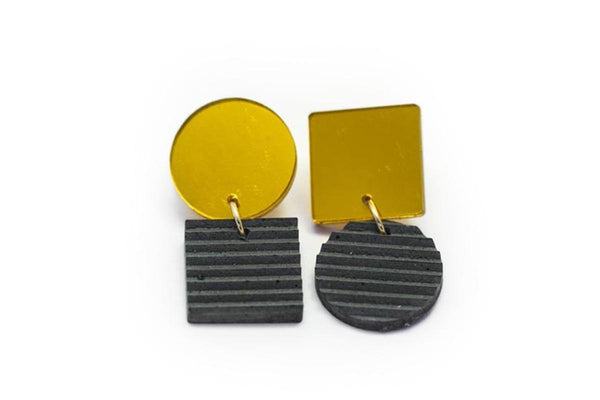 Gray Concrete Ripple Earrings - Asymmetric Small - Gold