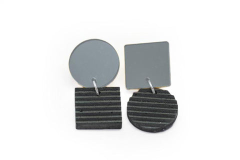 Gray Concrete Ripple Earrings - Asymmetric Small - Silver