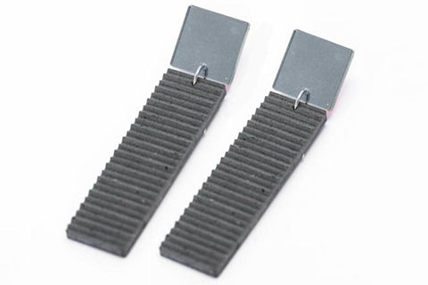 Gray Concrete Ripple Earrings - Bar Large - Silver