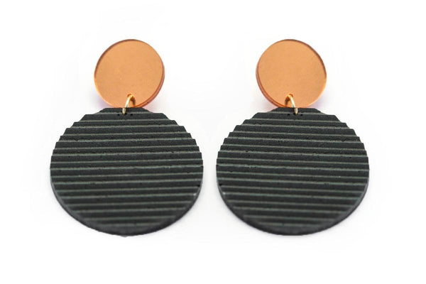 Gray Concrete Ripple Earrings - Circle Large - Copper