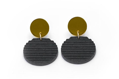 Gray Concrete Ripple Earrings - Circle Small - Gold