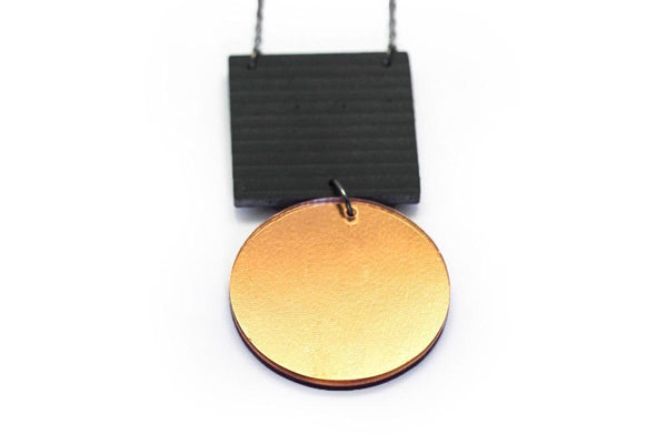 Gray Concrete Ripple Necklaces - Asymmetric Large - Copper