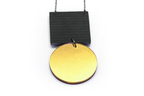 Gray Concrete Ripple Necklaces - Asymmetric Large - Gold