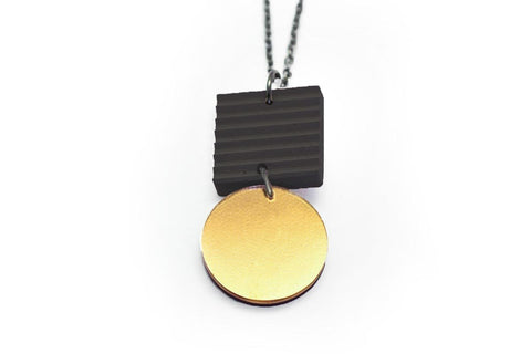Gray Concrete Ripple Necklaces - Asymmetric Small - Gold
