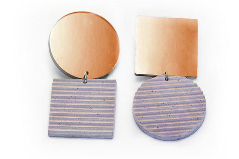 Rose Concrete Ripple Earrings - Asymmetric Large - Copper