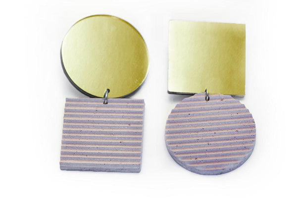 Rose Concrete Ripple Earrings - Asymmetric Large - Gold