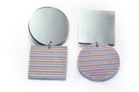 Rose Concrete Ripple Earrings - Asymmetric Large - Silver