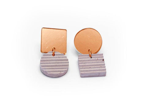 Rose Concrete Ripple Earrings - Asymmetric Small - Copper