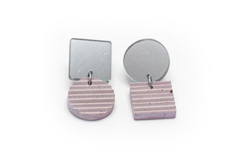Rose Concrete Ripple Earrings - Asymmetric Small - Silver