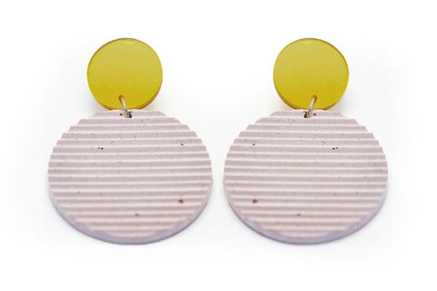 Rose Concrete Ripple Earrings - Circle Large - Gold