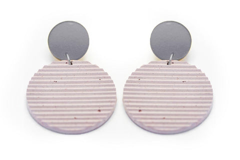 Rose Concrete Ripple Earrings - Circle Large - Silver