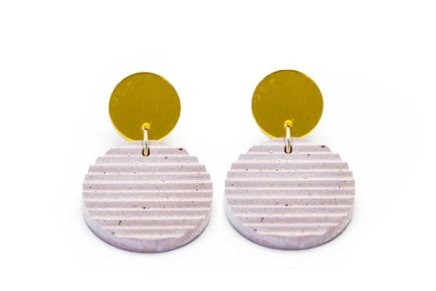 Rose Concrete Ripple Earrings - Circle Small - Gold