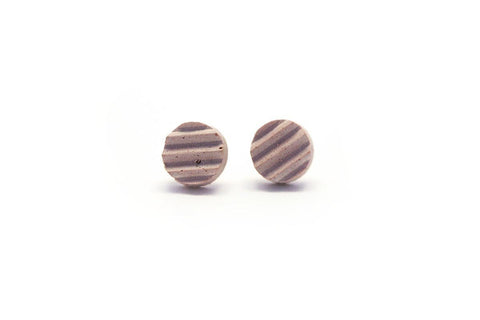 Rose Concrete Ripple Earrings - Stud Circle Small