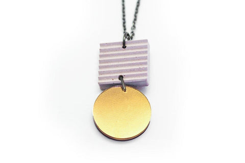 Rose Concrete Ripple Necklaces - Asymmetric Small - Gold