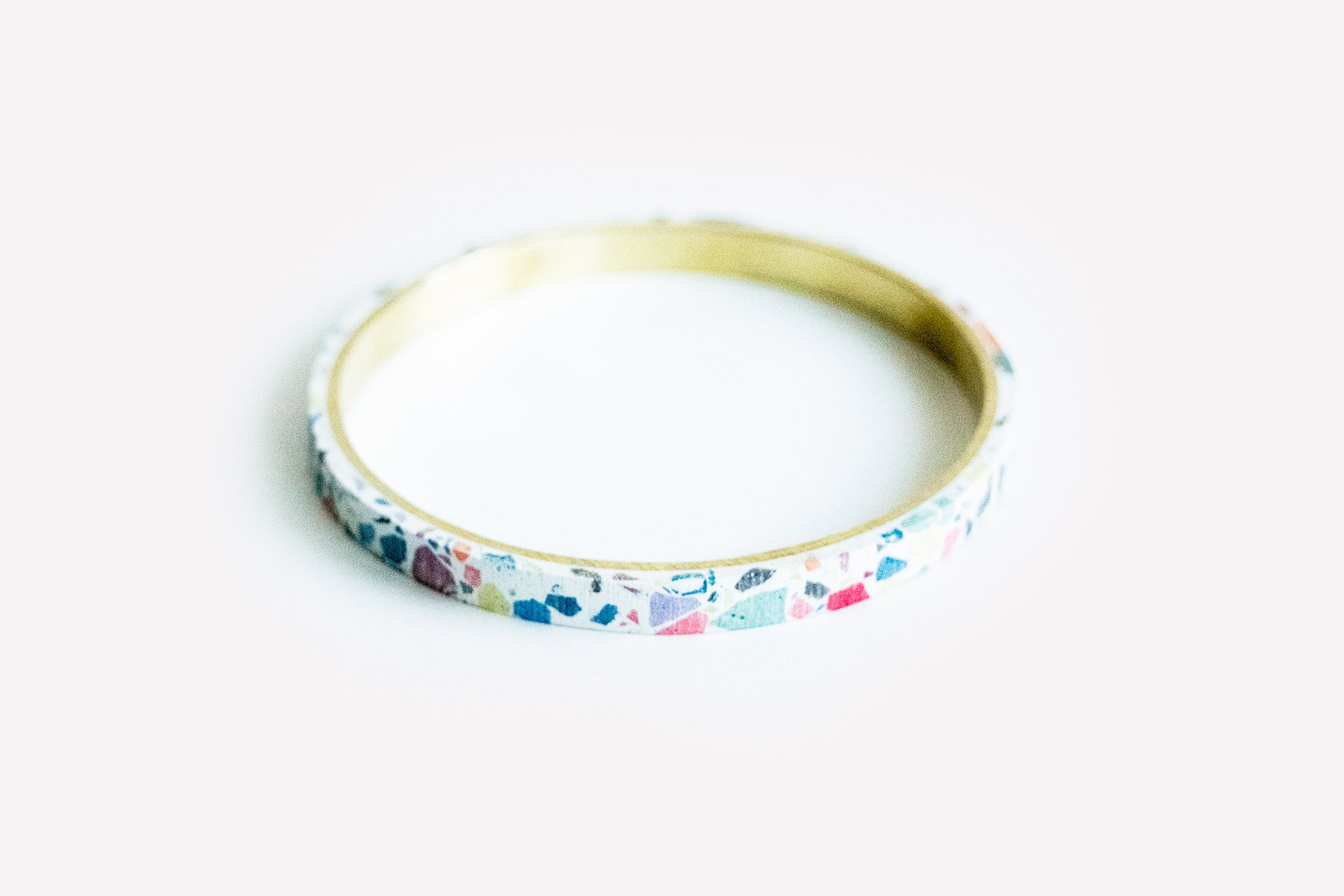 White Terrazzo Concrete + Jesmonite Brass Bangle