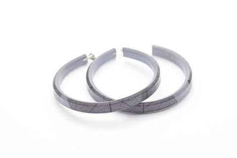 Fossil Leaf Gray Hoop Earrings - Large