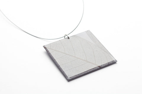 Fossil Leaf Gray Necklace - Lrg Square