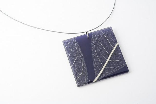 Fossil Leaf Indigo Necklace - Lrg Square