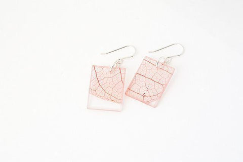 Fossil Leaf Red Earrings - Regular