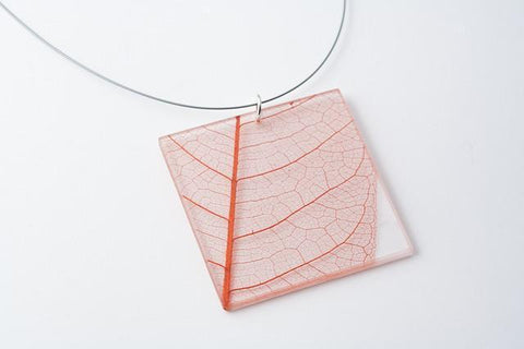 Fossil Leaf Red Necklace - Lrg Square