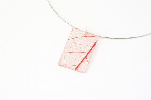 Fossil Leaf Red Necklace - Regular