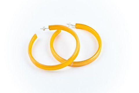 Fossil Leaf Tangerine Hoop Earrings - Large