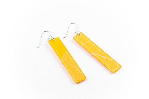 Fossil Leaf Tangerine Earrings - Long