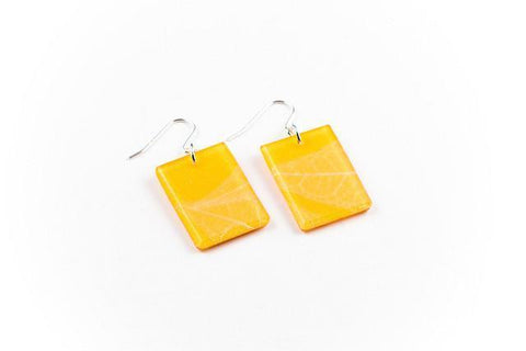 Fossil Leaf Tangerine Earrings - Regular