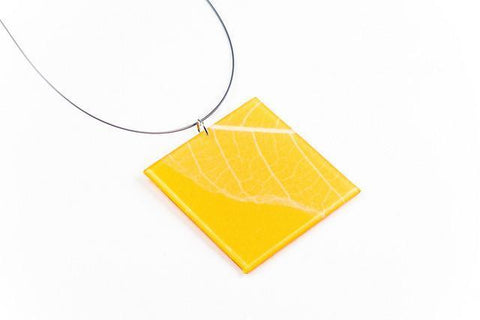 Fossil Leaf Tangerine Necklace - Lrg Square