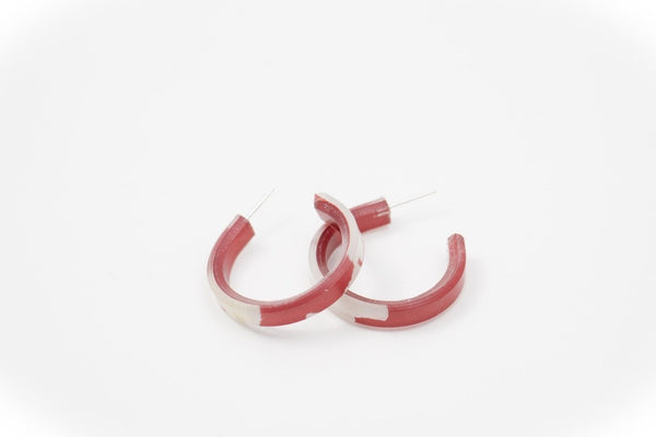 Fleur Marsala Hoop Earrings - Small