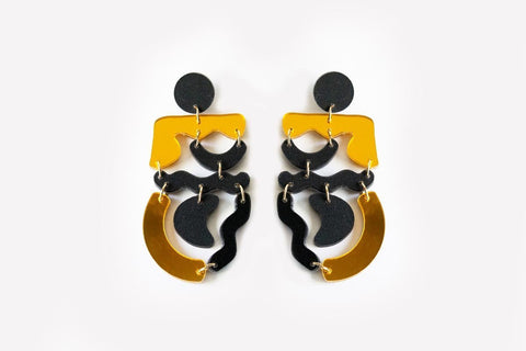 Ink Reflect Gold Squiggle Mania Earrings