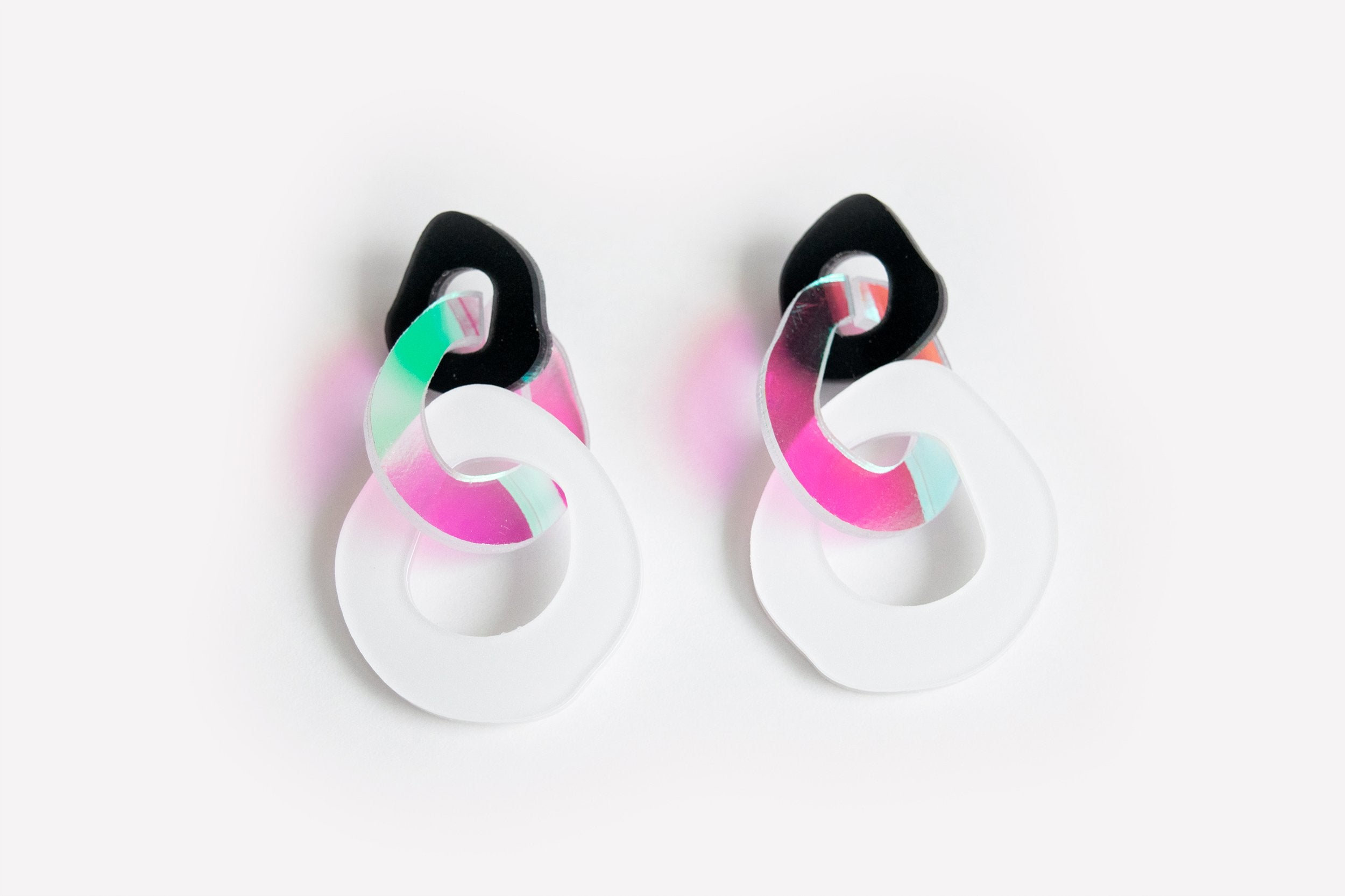 Ecoresin Earrings - Triple Link