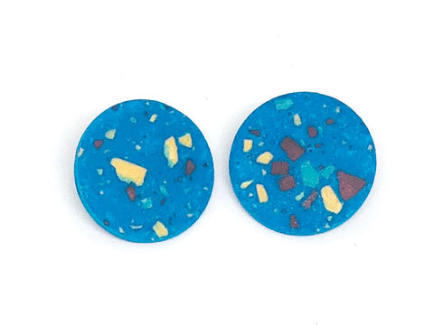 Blue Terrazzo Concrete + Jesmonite  Circle  Earring