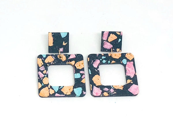 Dark Grey/Black Terrazzo Concrete + Jesmonite  Small Square Earring