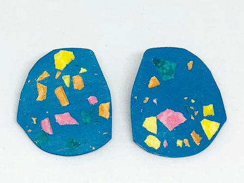 Blue  Terrazzo Concrete + Jesmonite  Large Earring